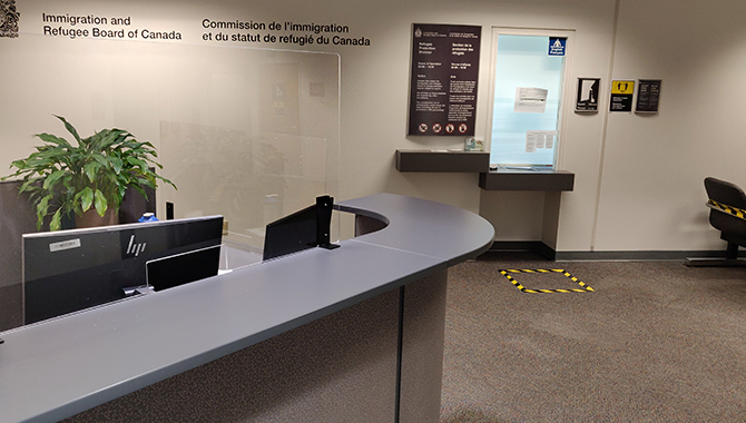 Upon arrival on the 18th floor, you must report to the screening station near the commissionaire's desk behind plexiglass. The public seating is blocked off. There are hand washing and 2-metre physical distancing signs in the common areas.